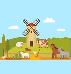 windmill and farm landscape vector image