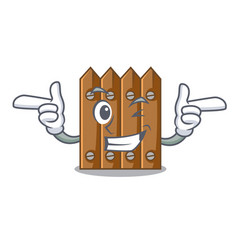 Wink character close up on wooden fence door vector