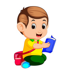 young boy reading book vector image