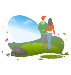 Young casual couple hugging and walking vector