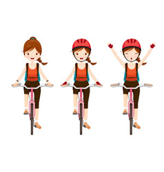 Young woman riding bicycle set vector