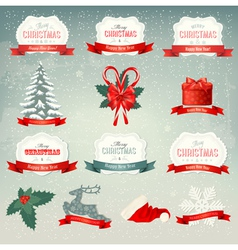 Big collection of Christmas icons and design vector image vector image