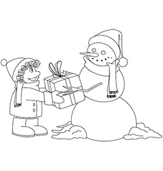 Christmas Snowman Gives Present To Boy Coloring vector image vector image