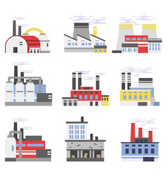industrial manufactory buildings set power and vector image