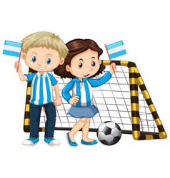 Boy and girl holding flag of nicaragua vector
