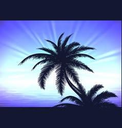 palm tree on blue sunrise background vector image vector image