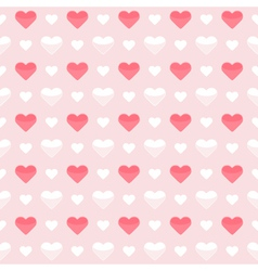 Seamless pattern cute red and white hearts on a vector image vector image