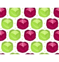Cabbage seamless pattern Red endless background vector image vector image