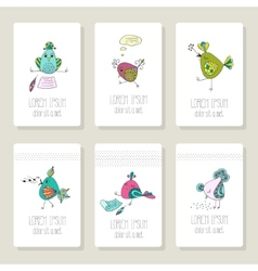 Cards with the image of birds in different actions vector image vector image