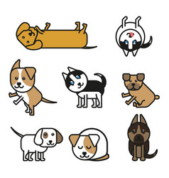 set of isolated icons puppies of different breeds vector image