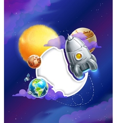 Space background with white frame vector image