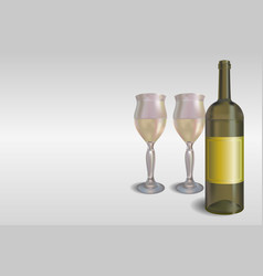 white wine bottle with glasses concept vector image