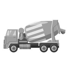 Concrete mixer truck icon gray monochrome style vector image