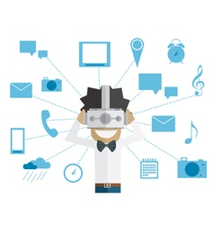 Man and head-mounted display vector image vector image
