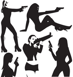 set of sexy woman silhouette with gun vector image