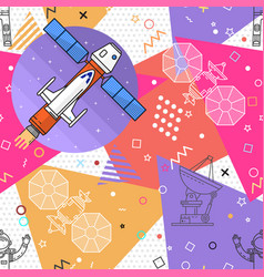 space memphis seamless pattern vector image vector image
