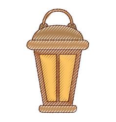 vintage lantern in colored crayon silhouette vector image