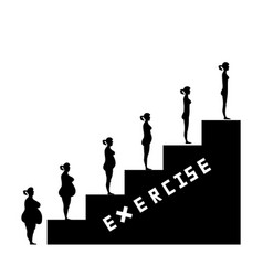 weight loss success with exercise vector image