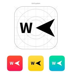 West direction compass icon vector image vector image