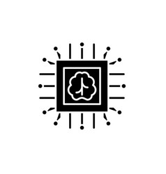 artificial intelligence technologies black icon vector image