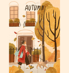 autumn mood hand drawn greeting card vector image