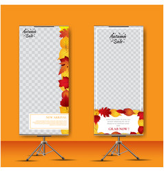 autumn stand banner roll up design vector image