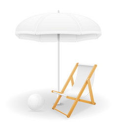 beach attributes umbrella and deck chair stock vector image