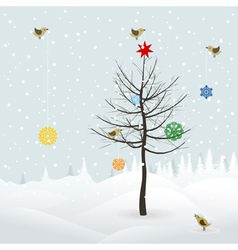 Birds decorate christmas tree vector