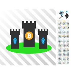 Bitcoin citadel flat icon with bonus vector