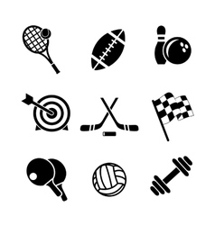 Black and white sporting icons vector image