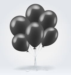Bunch of black glossy inflatable balloons vector