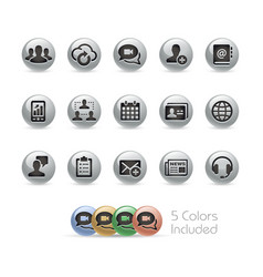 business technology icons - metal round series vector image