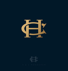 C and h monogram consist intertwined lines vector