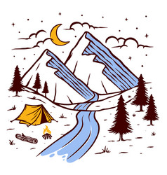 Camping on mountain at night vector