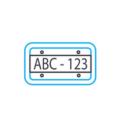 Car plate thin line stroke icon car plate vector