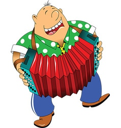 Cartoon accordion player vector image
