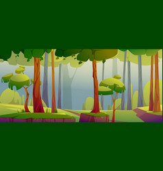 cartoon forest background nature scenery landscape vector image
