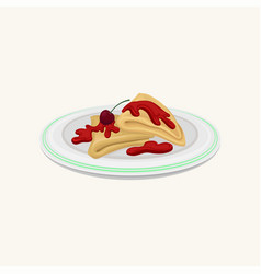 cartoon of pancakes folded in vector image