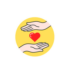 charity linear logo hand and heart vector image