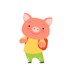 Cheerful tourist pig with backpack cute animal vector