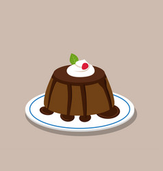 Chocolate pudding on white plate vector