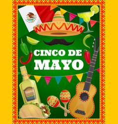Cinco de mayo traditional mexican symbols vector