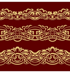 Collection of gold floral seamless border design e vector image
