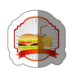 Color emblem with hamburger soda and fries french vector