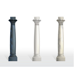 Color marble stone columns realistic set vector