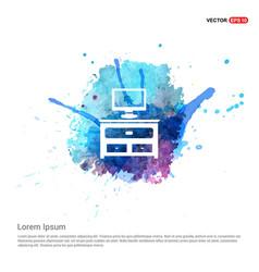 Computer table icon - watercolor background vector