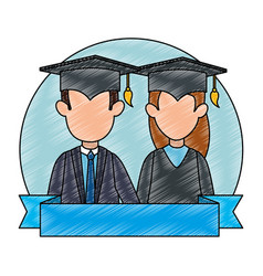Couple students graduated characters vector