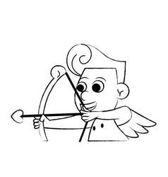 Cupid with arch sketch vector