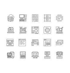 data line icons signs set outline vector image