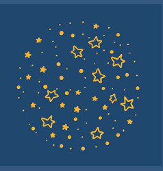 doodle stars on blue background round night vector image